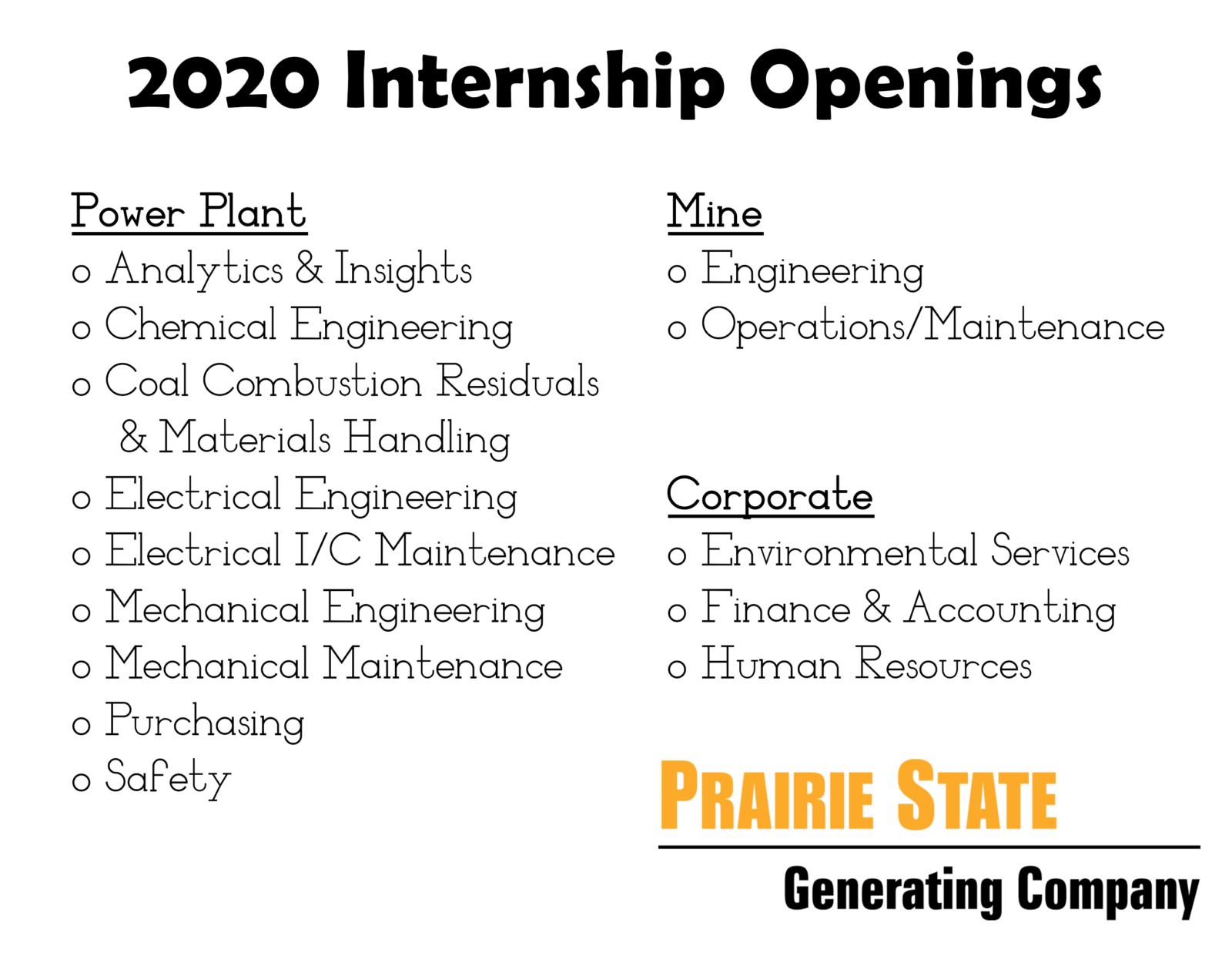 Electrical Engineering Internships Summer 2020.2020 Summer Internship Program Prairie State Energy Campus